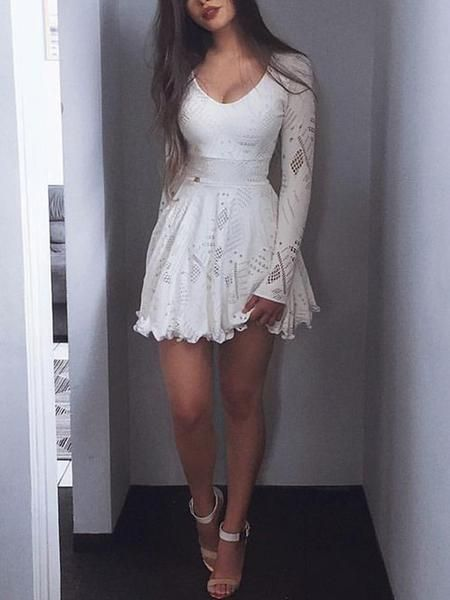 A-Line Scoop Long Sleeves Short White Lace Homecoming Dresses cg275