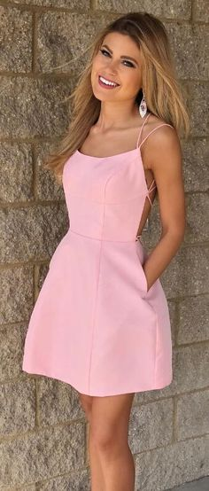 pink homecoming dresses, short homecoming dresses with pockets cg276
