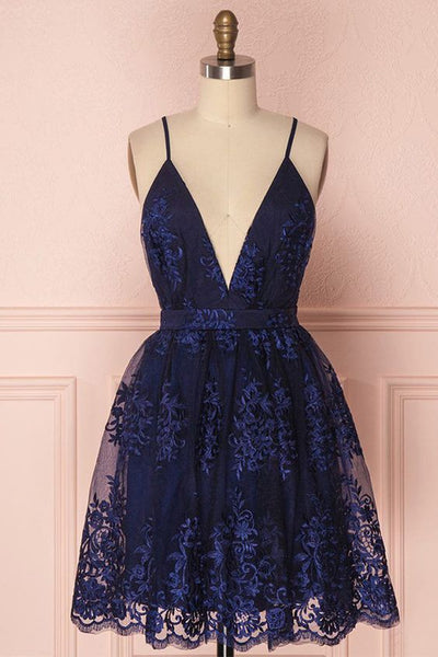 Navy Blue Homecoming Dress, Homecoming Dress with Appliques  cg2783