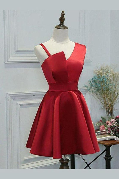 simple party dresses, chic a-line fashion dresses, modest red homecoming dresses cg278