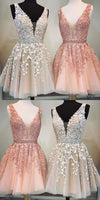 Short A-line V-neck Beaded Sashes Tulle  Homecoming Dresses Lace ,cute homecoming dress cg28