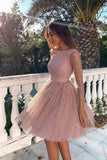 Glitter Pink 3/4 Sleeves Open Back Short Homecoming Dress cg2807