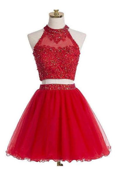 Two-piece Scoop Short Red Organza Beaded Homecoming Dress with Appliques Sequins cg283