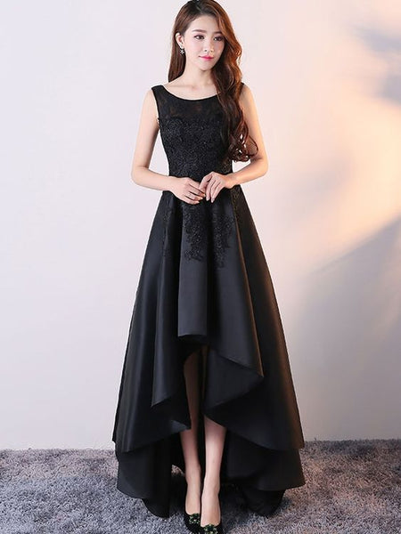 Cute Black Lace Prom Dress Black Round Neck Satin Lace High Low Prom Dress ,lace prom dress cg288
