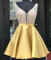 Yellow v neck sequin short homecoming dress, yellow party dress cg292