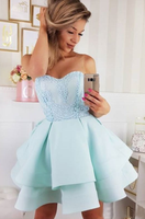 A-Line Round Neck Short Light Blue Homecoming Dress with Appliques cg296