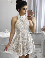 Fashion A-Line High Neck Short/Mini Lace Homecoming/Party Dress ,lace homecoming dress  cg298