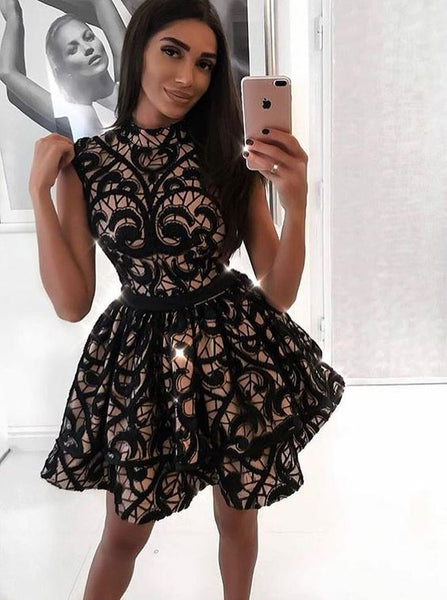 A-Line Jewel Sleeveless Short Black Lace Homecoming Dress cg301