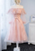Pink tulle lace short dress, homecoming dress cg3025