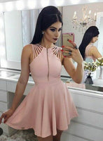 short homecoming dresses, simple homecoming gowns, pink fashion dresses cg303