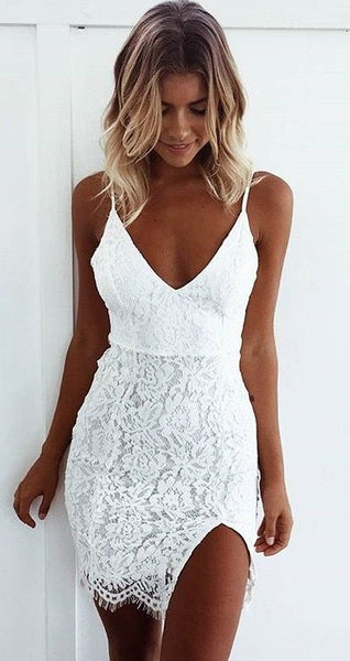 A-Line Spaghetti Straps White Lace Homecoming Dress cg3089