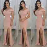 Off-Shoulder Satin Mermaid Long prom Dresses with Front Slit cg3093