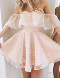 A-Line Off-Shoulder Pearl Pink Lace Tulle Short Homecoming Dresses with Ruffles ,cute homecoming dress cg30