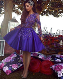 A-Line Round Neck Long Sleeves Royal Blue Short homecoming Dress with Appliques  cg312
