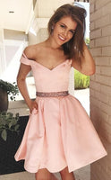 Short Pink Dress Homecoming Dress With Pockets  cg322