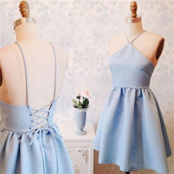 New Blue Halter Homecoming Dress, Short Custom Dresses cg323