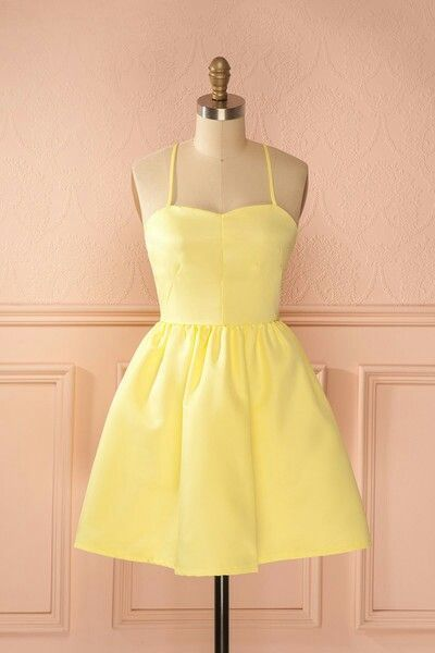 A-Line Spaghetti Straps Short Yellow Satin Homecoming Dress cg324