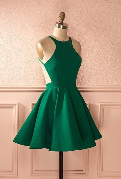 Short Green Graduation Dress, Homecoming Dresses cg328