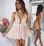 A-Line Deep V-Neck Short Blush Convertible Homecoming Dress cg3299