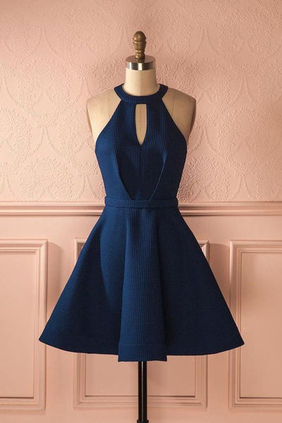 Keyhole Dark Blue Dresses,Short Homecoming Dresses,Cocktail Dresses  cg331