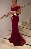 Off The Shoulder Prom Dress, Charming Formal Dresses,Mermaid Dresses ,burgundy prom dress  cg335