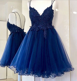 Charming Tulle Appliques Short Homecoming Dress, Backless Short Party Dress cg336