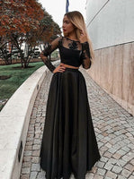 Two Pieces Black Prom Dress, Dresses For Event, Evening Dress, modest prom dress cg339