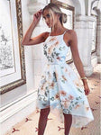 Cheap Delightful Dress High Low A-Line Square Neck High-Low Light Blue Floral Chiffon Homecoming Dress cg3401
