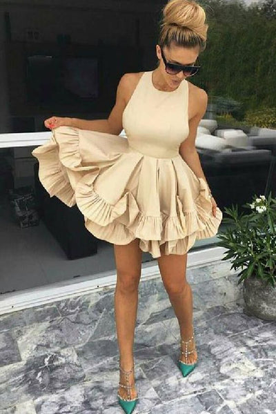 A-Line Party Dress, Champagne Homecoming Dress, Sleeveless Homecoming Dress  cg342