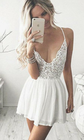 A-Line Spaghetti Straps Short White Chiffon Homecoming Cocktail Dress with Lace , short homecoming dress cg344