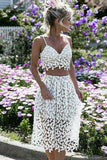 Sexy Spaghetti Strap White Lace Short Party Dress,Two-Piece Short homecoming Dresses cg345
