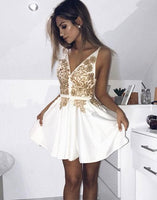 Cute v neck short homecoming dress, white evening dress cg346