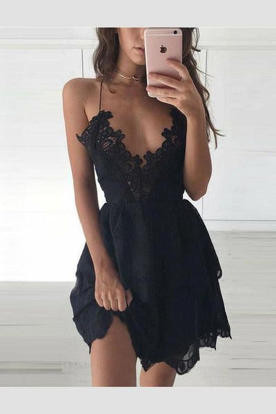 Black Homecoming Dresses Sexy A-Line Deep V-Neck Black Lace Homecoming Dress cg349
