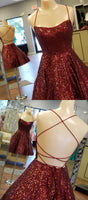 A Line Criss Cross Straps Back Burgundy Sequins Homecoming Dress cg3502