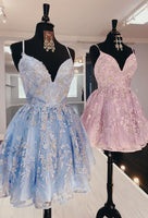 princess pink short homecoming dresses, light sky blue formal homecoming dresses, lace hoco dresses for teens cg3503