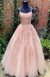 PINK TULLE LACE LONG PROM DRESS, PINK TULLE LACE EVENING DRESS cg3510