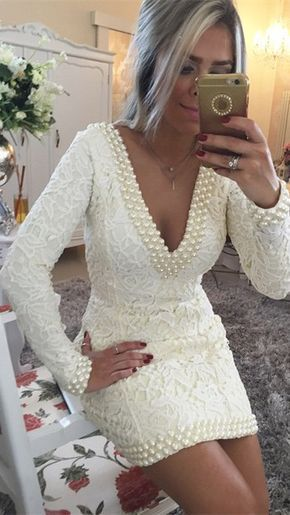 A-Line Lace V-neck Long Sleeves Short/Mini With Pearls Dresses, homecoming dress cg352