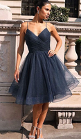 Gray v neck tulle short homecoming dress, gray tulle homecoming dress cg354
