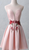 Short Pink Homecoming Dresses With Pleated Lace Up Mini Light Homecoming Dresses cg355