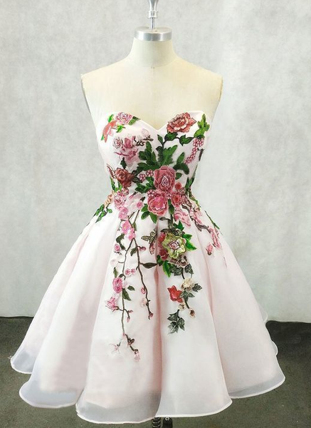 Tulle Light Pink Short Homecoming Dress, Handmade Flower Dress cg356