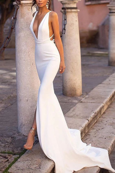 Sexy White Mermaid Deep V-neck Slit Open Back Prom Dress cg3581