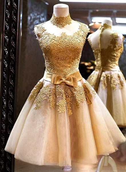 Gold Homecoming Dress,A-line Homecoming Dresses,High-neck Homecoming Dress cg359