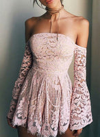 Pink lace off shoulder homecoming dress ,cute homecoming dress cg35