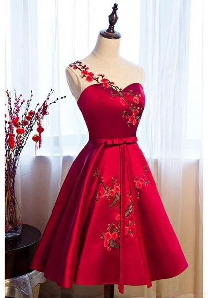 Burgundy Satin Homecoming Dresses with Applique cg363