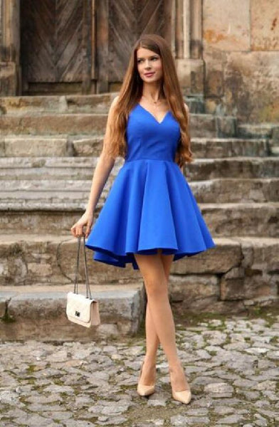 Short Royal Blue Homecoming Dress , Simple Grade Dance Dress, Sweet 16 Dress cg365