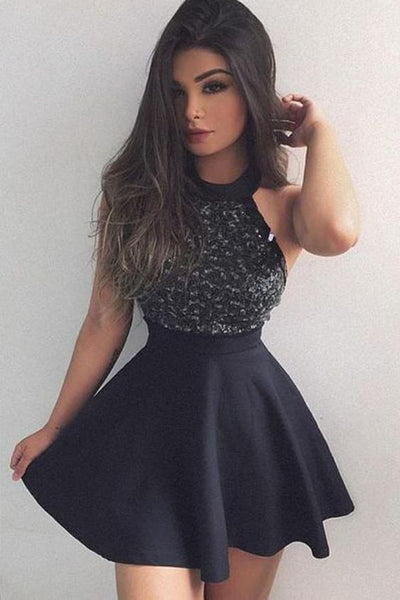 Black Homecoming Dress, Short Mini Dress with Beading, Fashion Graduation Dress cg366
