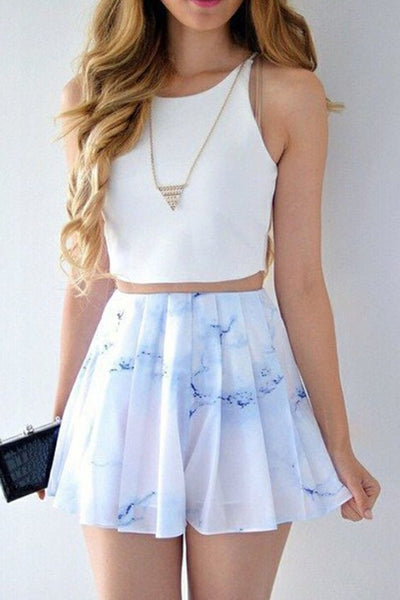 Two Piece Bateau Short Printed White Chiffon Homecoming Dress  cg368