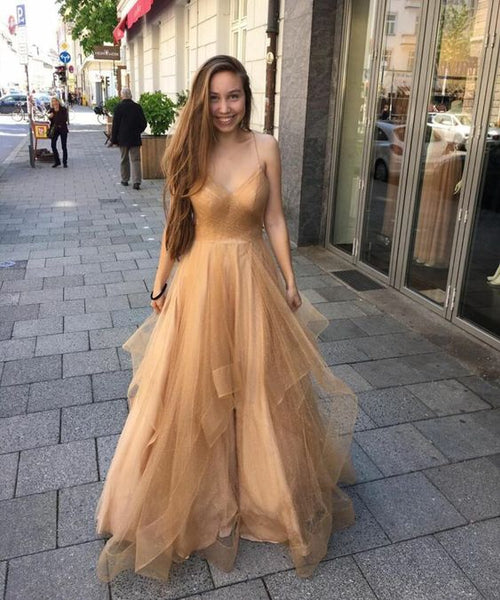 2019  long prom dress gold charming dress cg3723