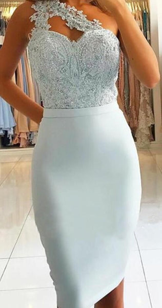 Sheath One Shoulder Light Blue Knee-Length homecoming Dress with Lace Beading cg374