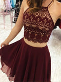 Two Piece Short Homecoming Dress, Burgundy Homecoming Dress cg378